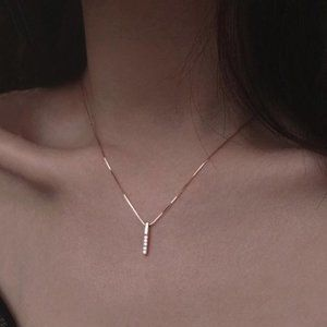 Jewelry - Gold Diamond Strip 925 Sterling Silver Necklace
